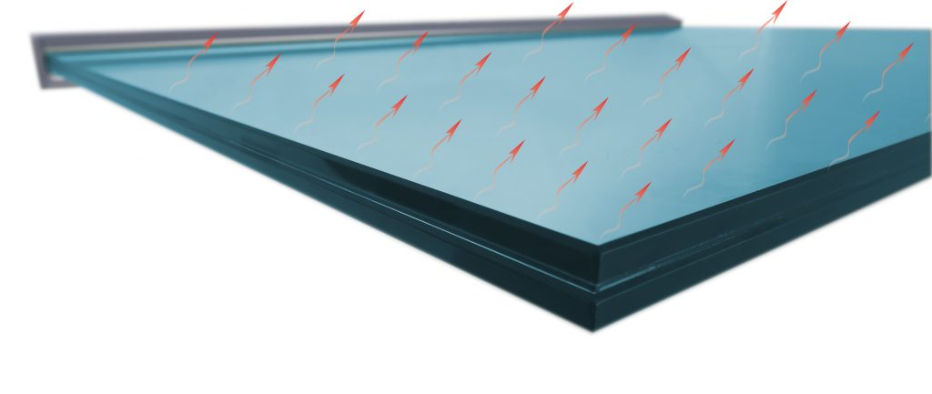 Heatable glass canopy roof